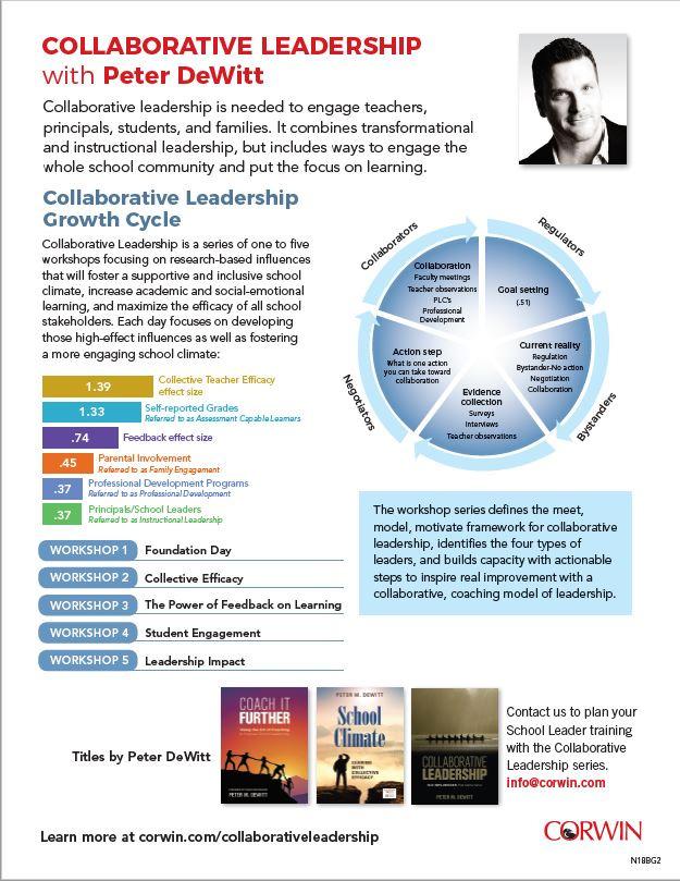 Peter DeWitt, Collaborative Leadership flyer, Corwin
